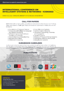 The International Conference on Intelligent Systems & Networks (ICISN 2022)